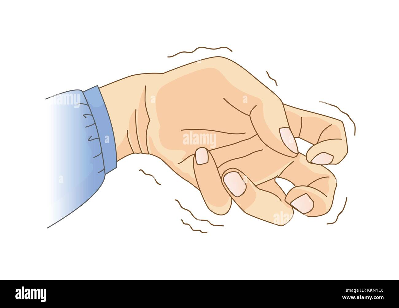 Finger and wrist bend and tremor symptom. - Stock Image