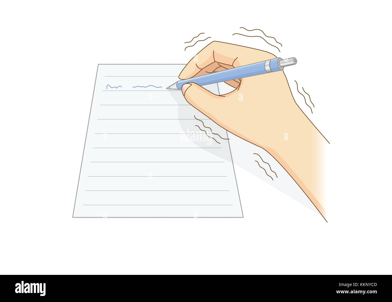 Human hand have tremor symptom while writing with a pen. - Stock Image