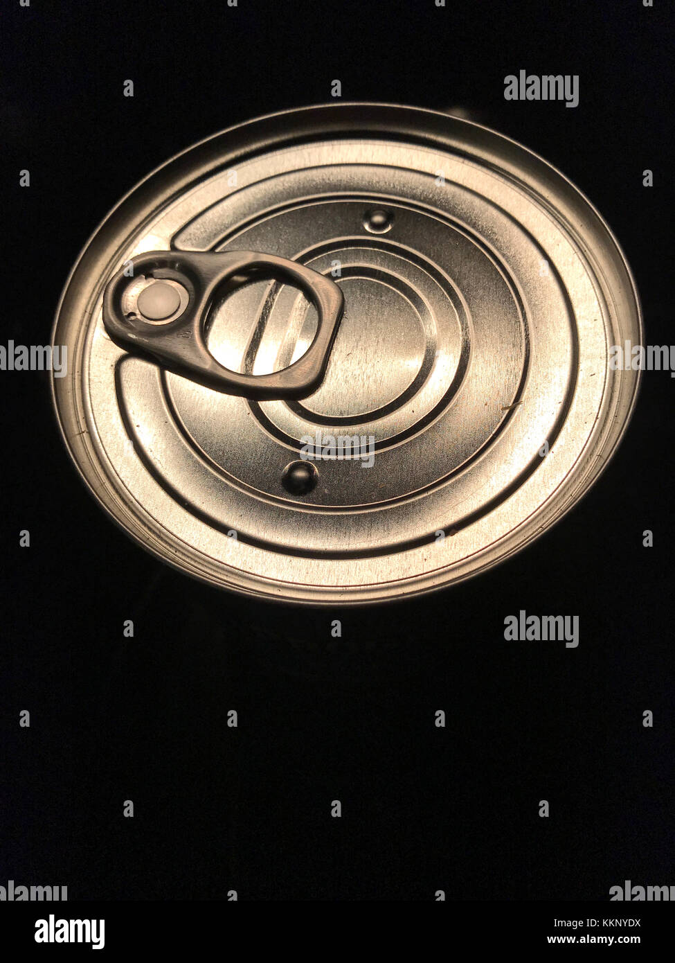 Topp can of pop with pop open ring. - Stock Image