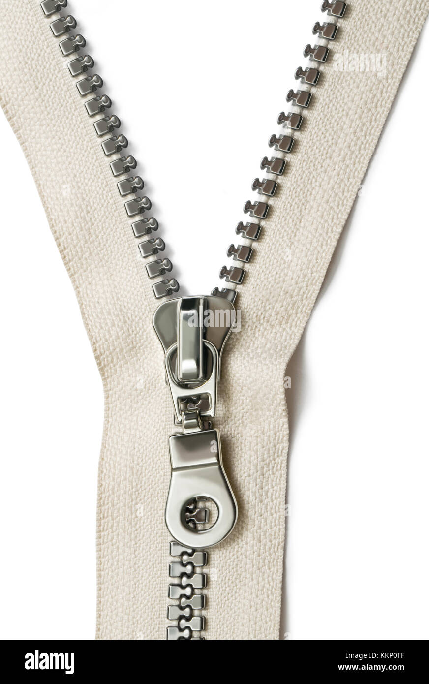 Closeup of zipper on white background - Stock Image