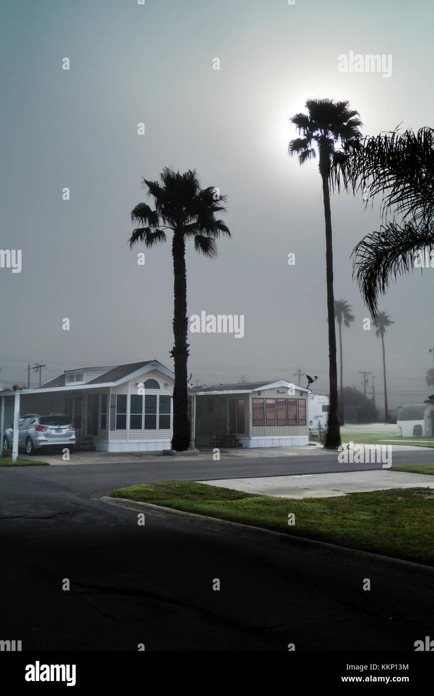 Morning fog at an RV Resort in Weslaco, Texas - Stock Image