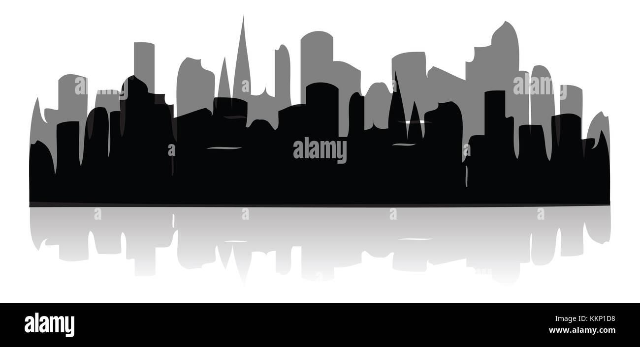 black cities silhouette icon - Stock Image
