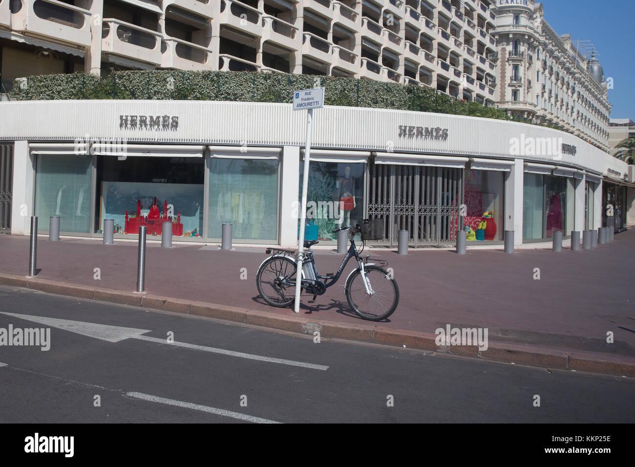 Hermes designer shop, Boulevard de la Croisette, Cannes Stock Photo