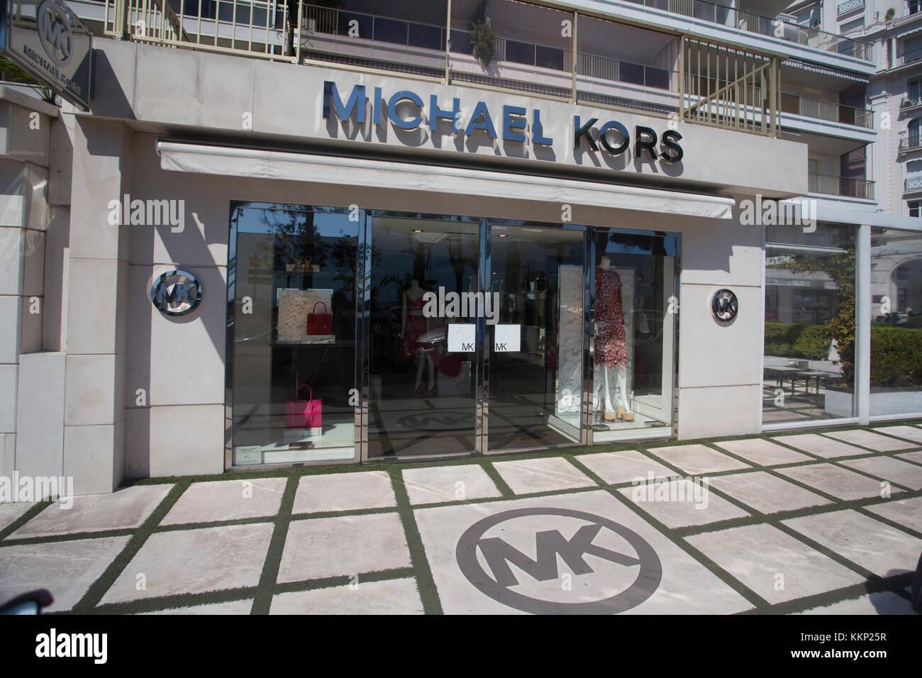 Michael Kors designer shop along Boulevard de la Croisette, Cannes, France Stock Photo