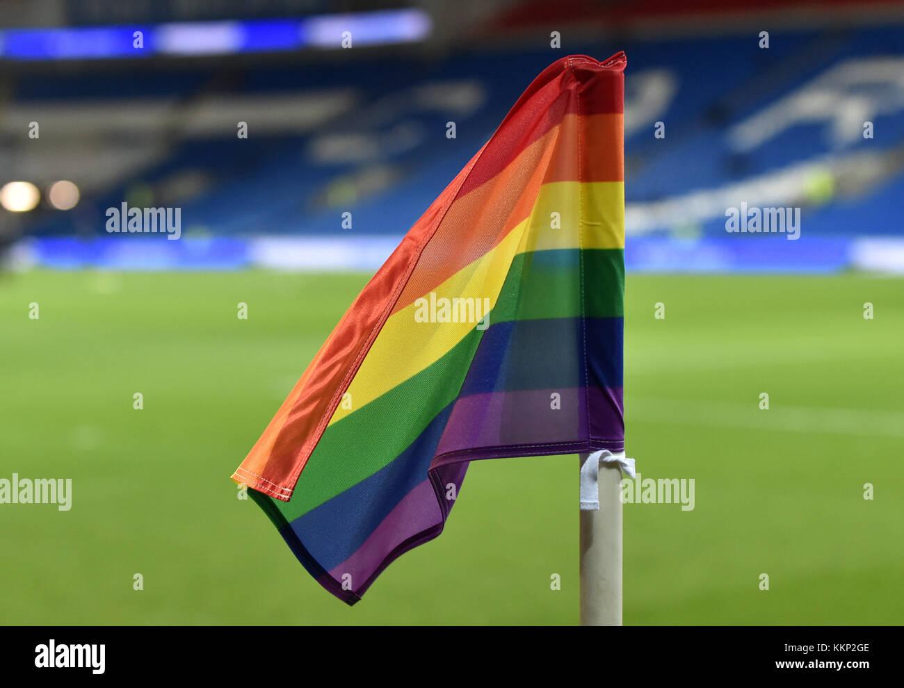 A rain bow corner flag at the Sky Bet Championship match at the Cardiff City Stadium, Cardiff. PRESS ASSOCIATION - Stock Image
