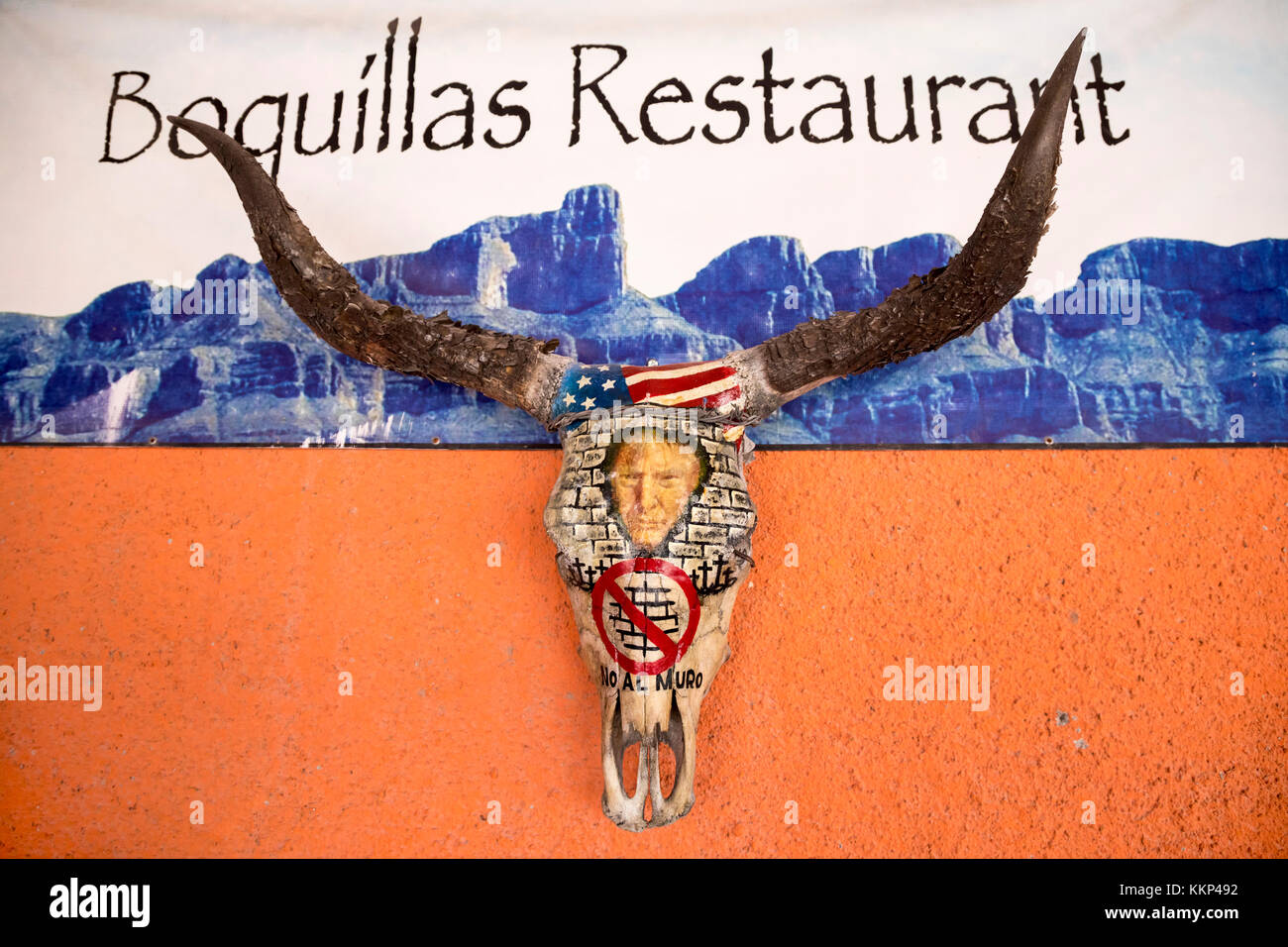 Boquillas del Carmen, Coahuila, Mexico - A longhorn skull on the wall of the Boquillas Restaurant is decorated with Stock Photo