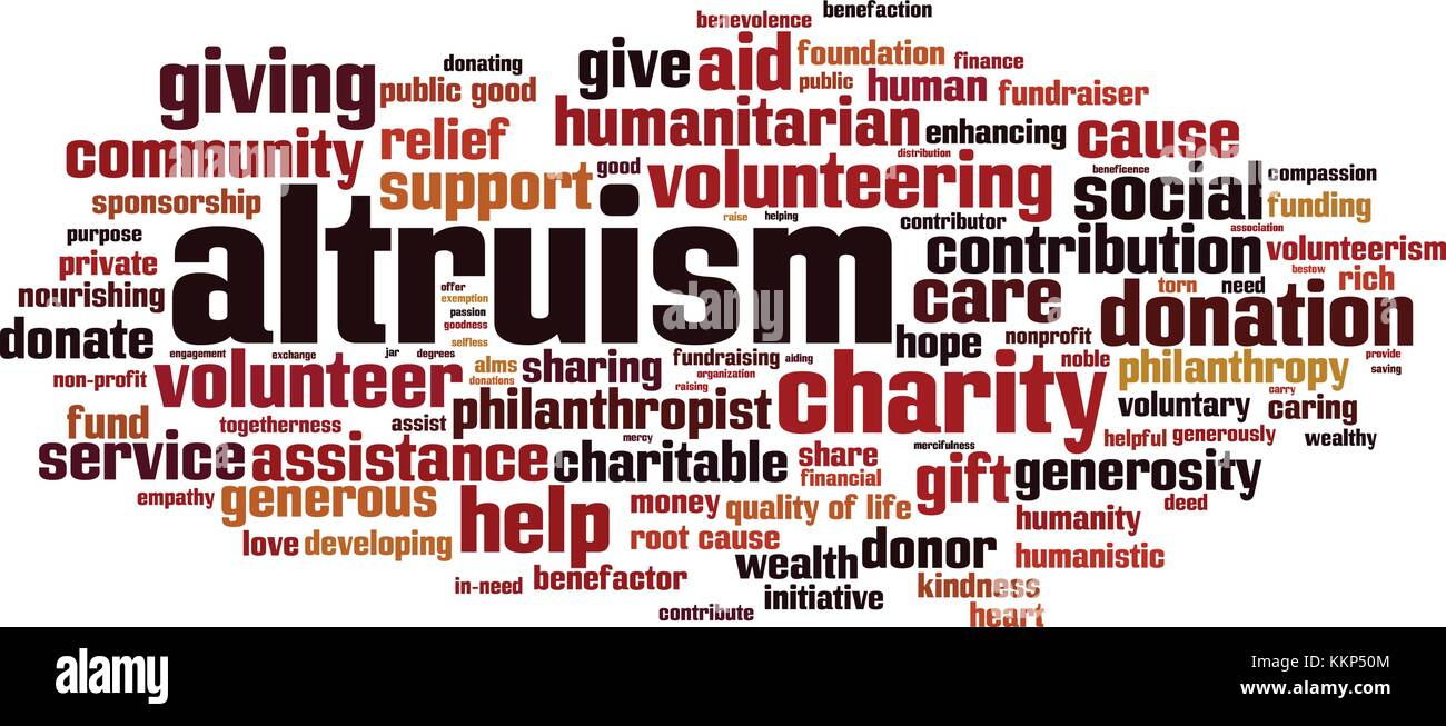 Altruism word cloud concept. Vector illustration - Stock Image
