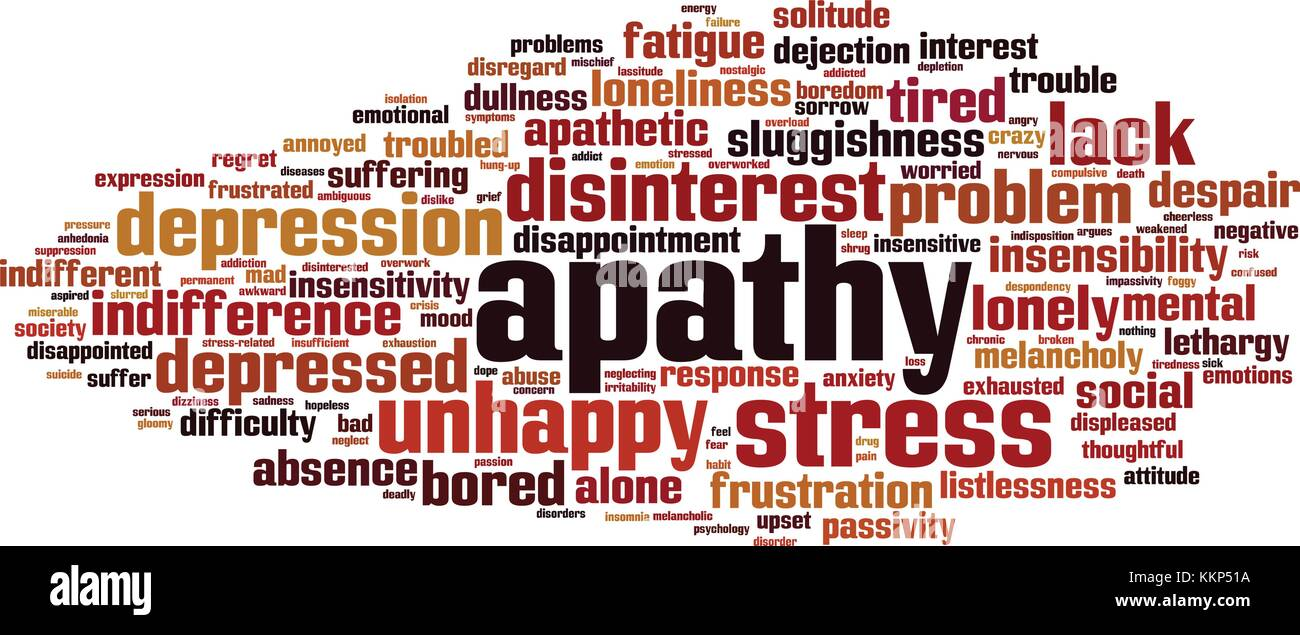 Apathy word cloud concept. Vector illustration - Stock Image