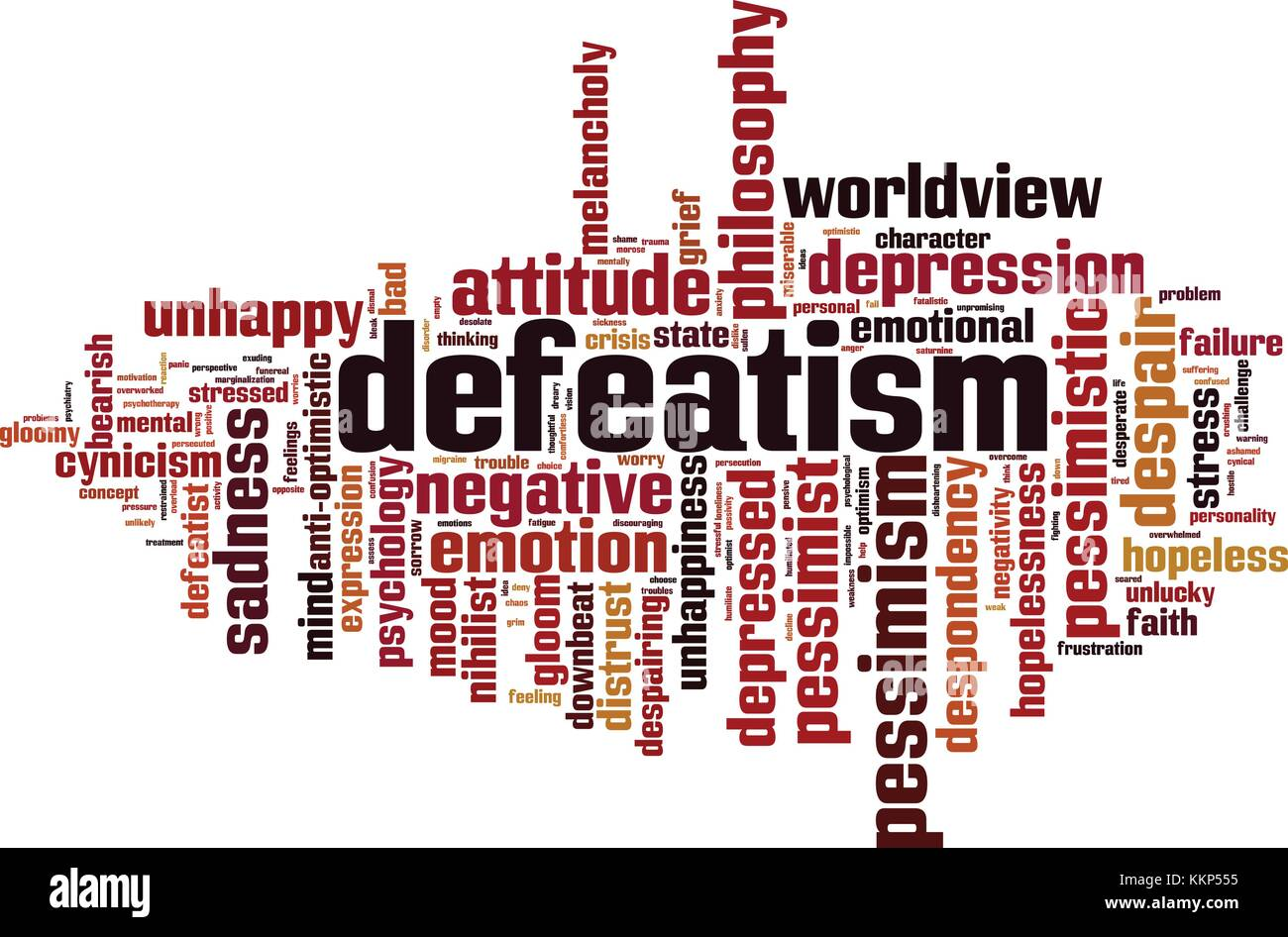 Defeatism word cloud concept. Vector illustration Stock Vector