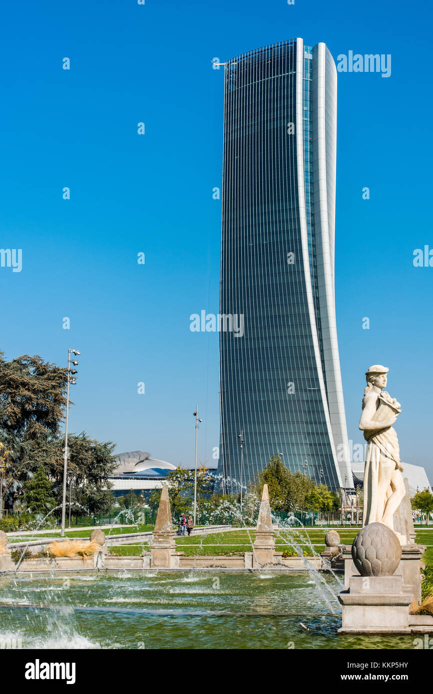 Generali Tower or Hadid Tower, Milan, Lombardy, Italy Stock Photo