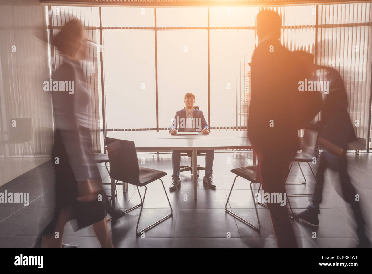 startup business, young creative people group entering meeting room - Stock Image