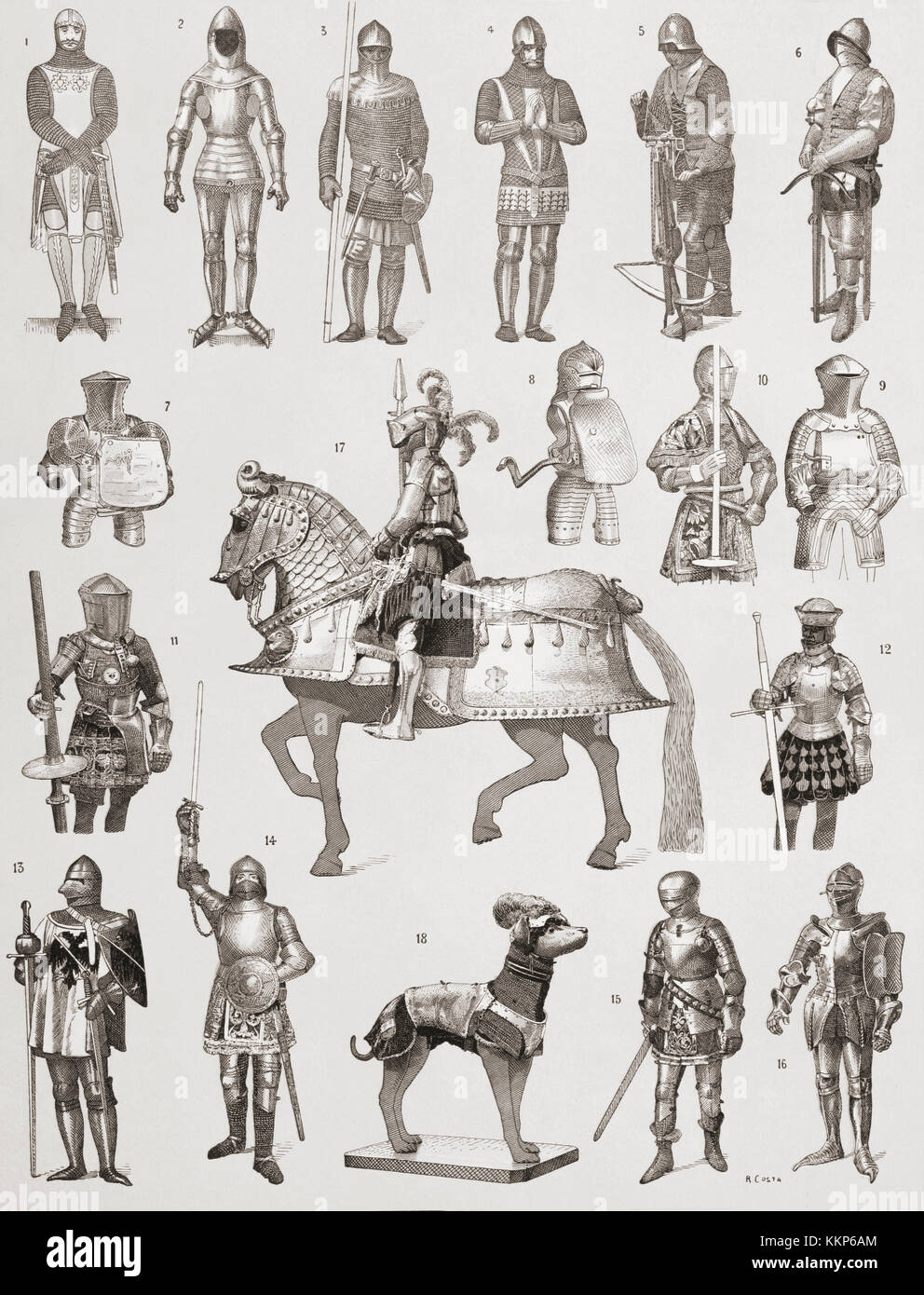 Suits of armour. 14th century. 1. Spanish  2. Full French suit   3.  French with a chain mail shirt  4.  English - Stock Image