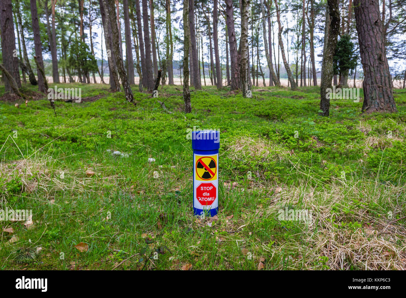 """""""Stop for atom"""" (nuclear energy) sign in forest between Lubiatowo and Debki villages in Pomeranian Voivodeship of Stock Photo"""