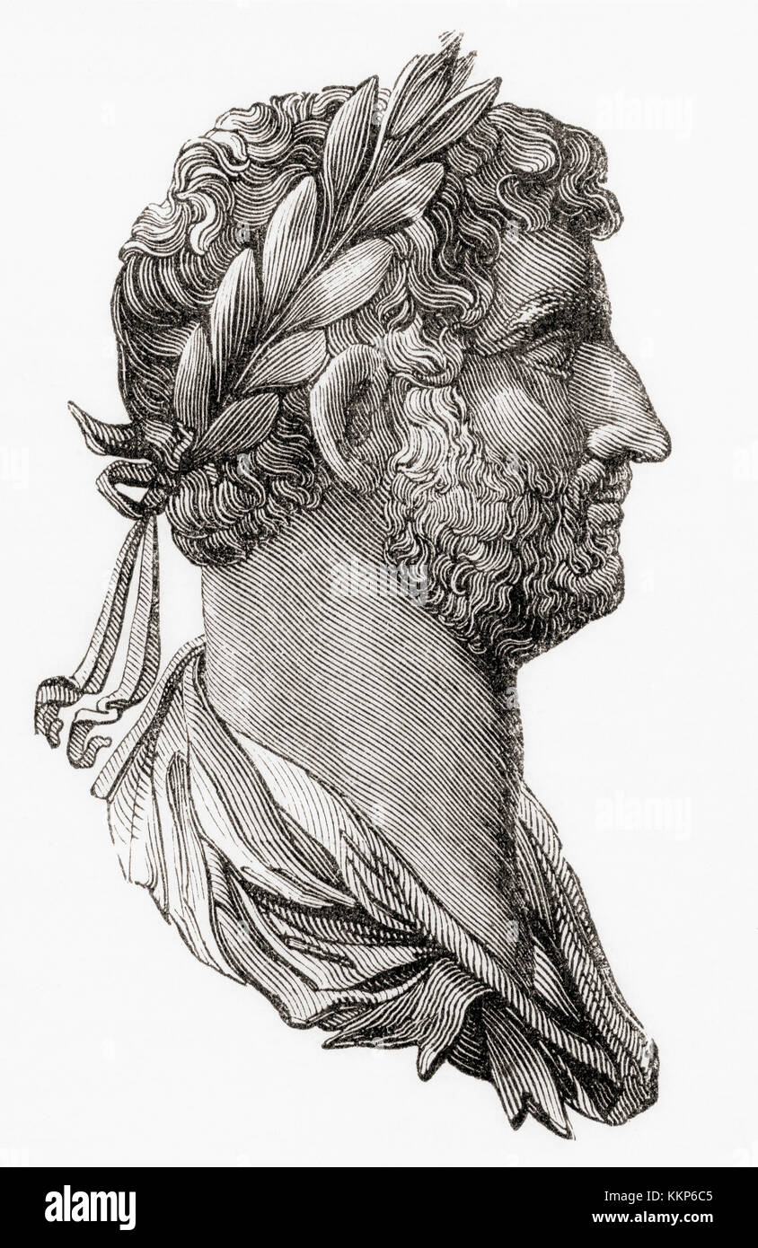 Hadrian, 76 – 138.  Roman emperor.  From Ward and Lock's Illustrated History of the World, published c.1882. - Stock Image