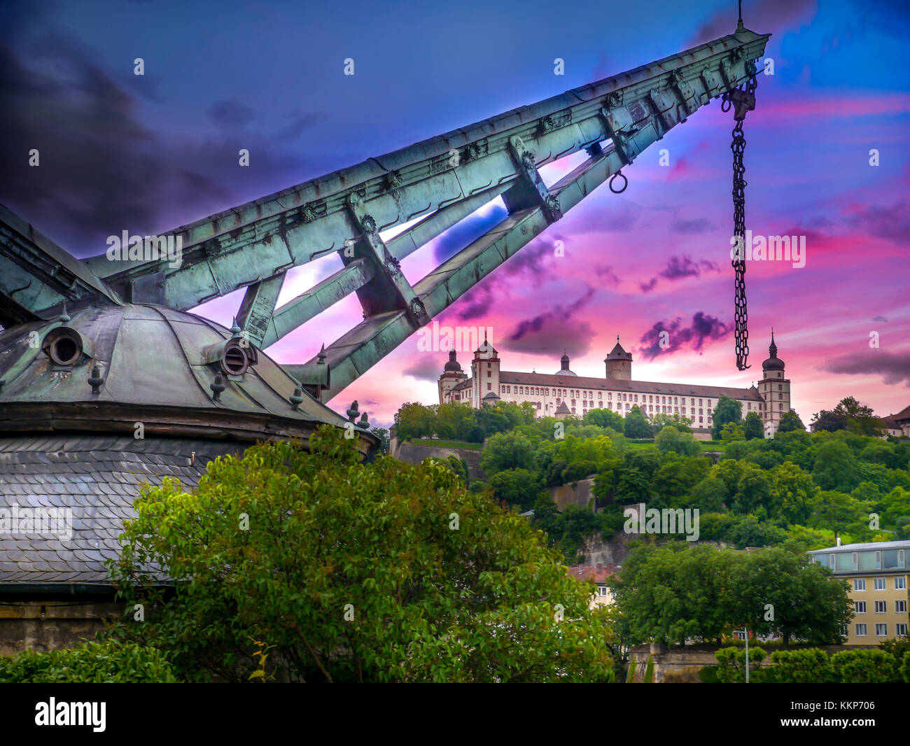 Colourful sky above the Rhine in Wurzburg. - Stock Image