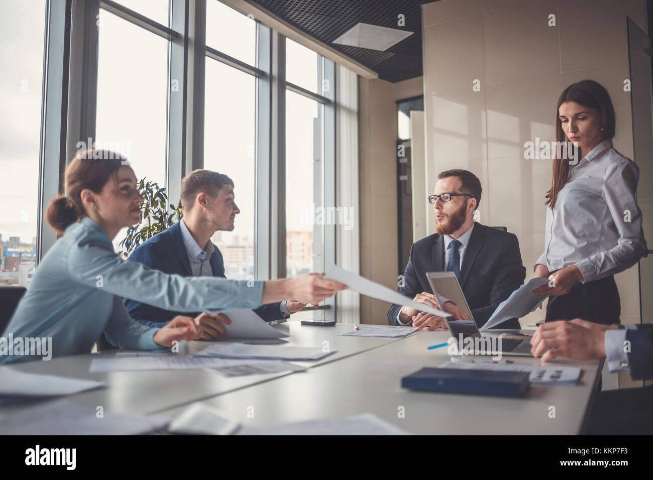 Corporate business team and manager in a meeting - Stock Image