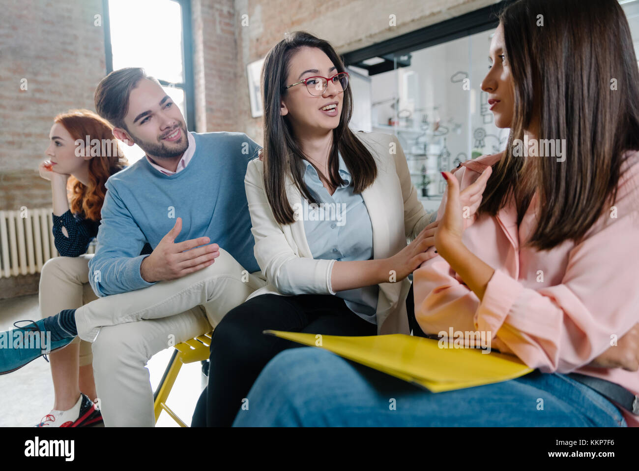 Chatting before the job interviews - Stock Image