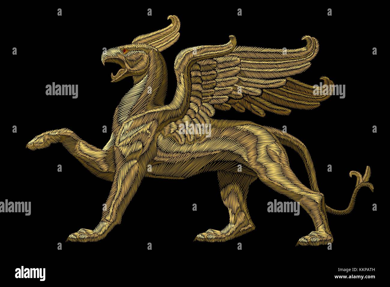 Golden textured embroidery griffin textile patch design. Fashion decoration ornament fabric print. Gold on black - Stock Image