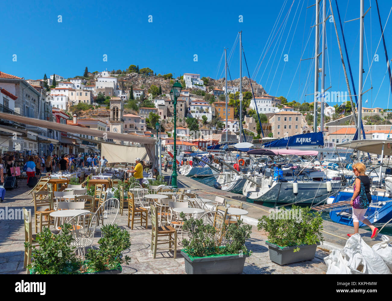 Cafes by the harbour in Hydra, Saronic Islands, Greece - Stock Image