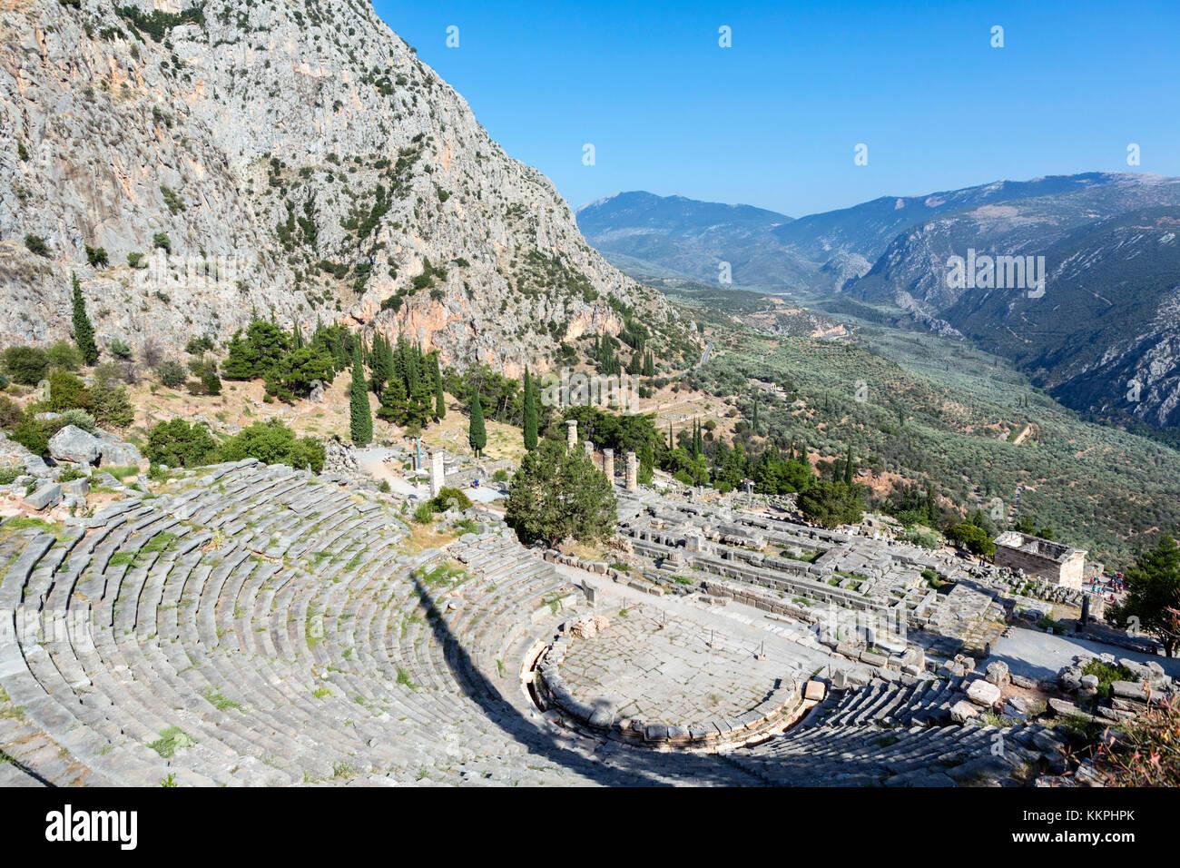 View over the amphitheatre and the Temple of Apollo, Delphi, Greece - Stock Image