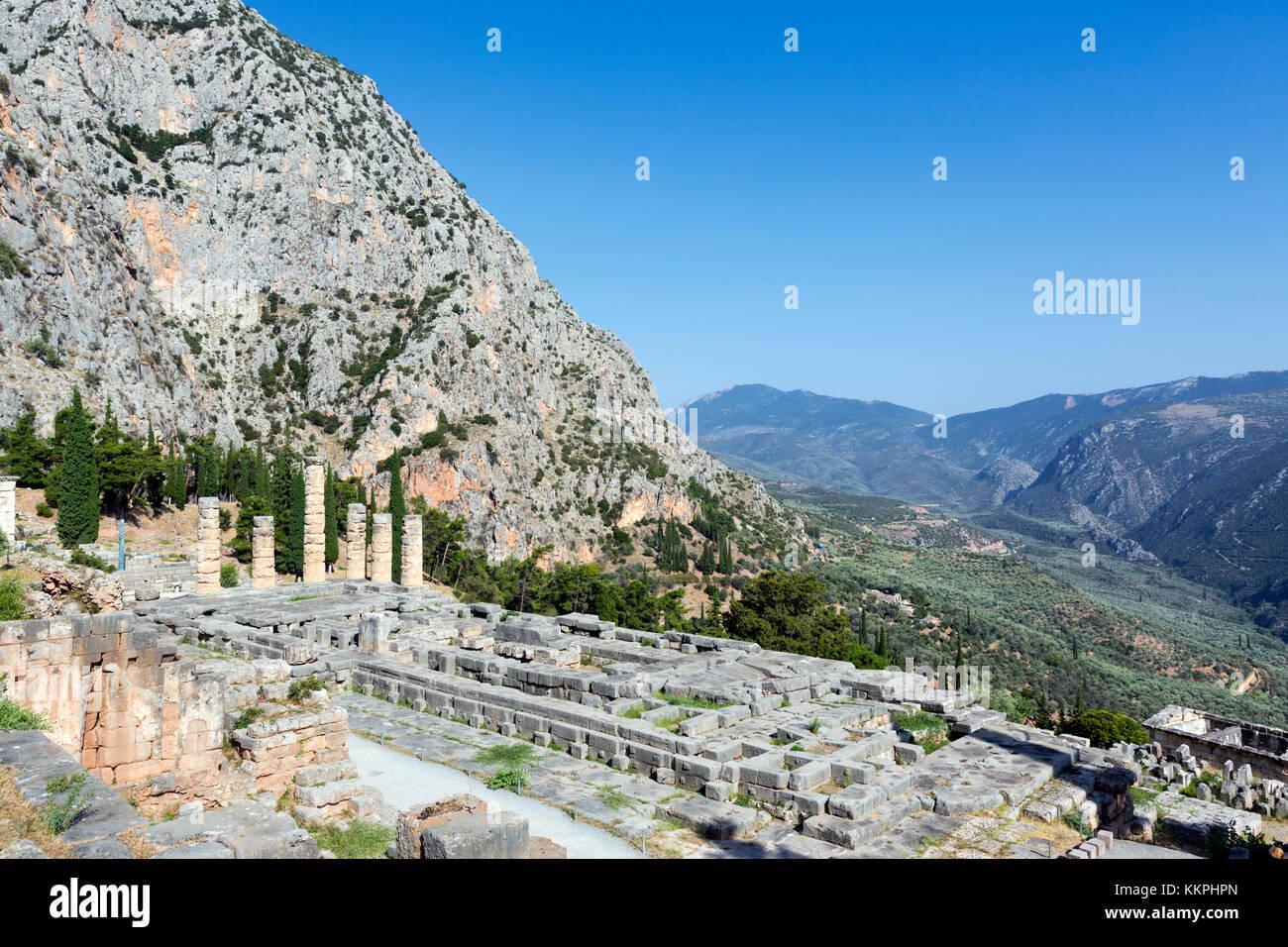 View over the Temple of Apollo, Delphi, Greece Stock Photo