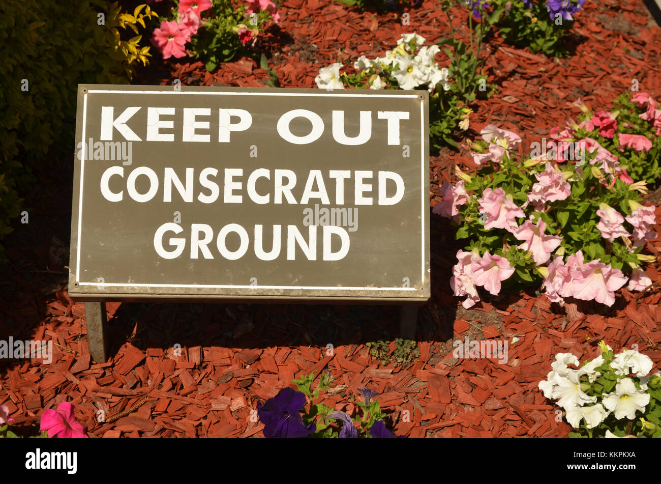 Keep out consecrated ground sign - Stock Image