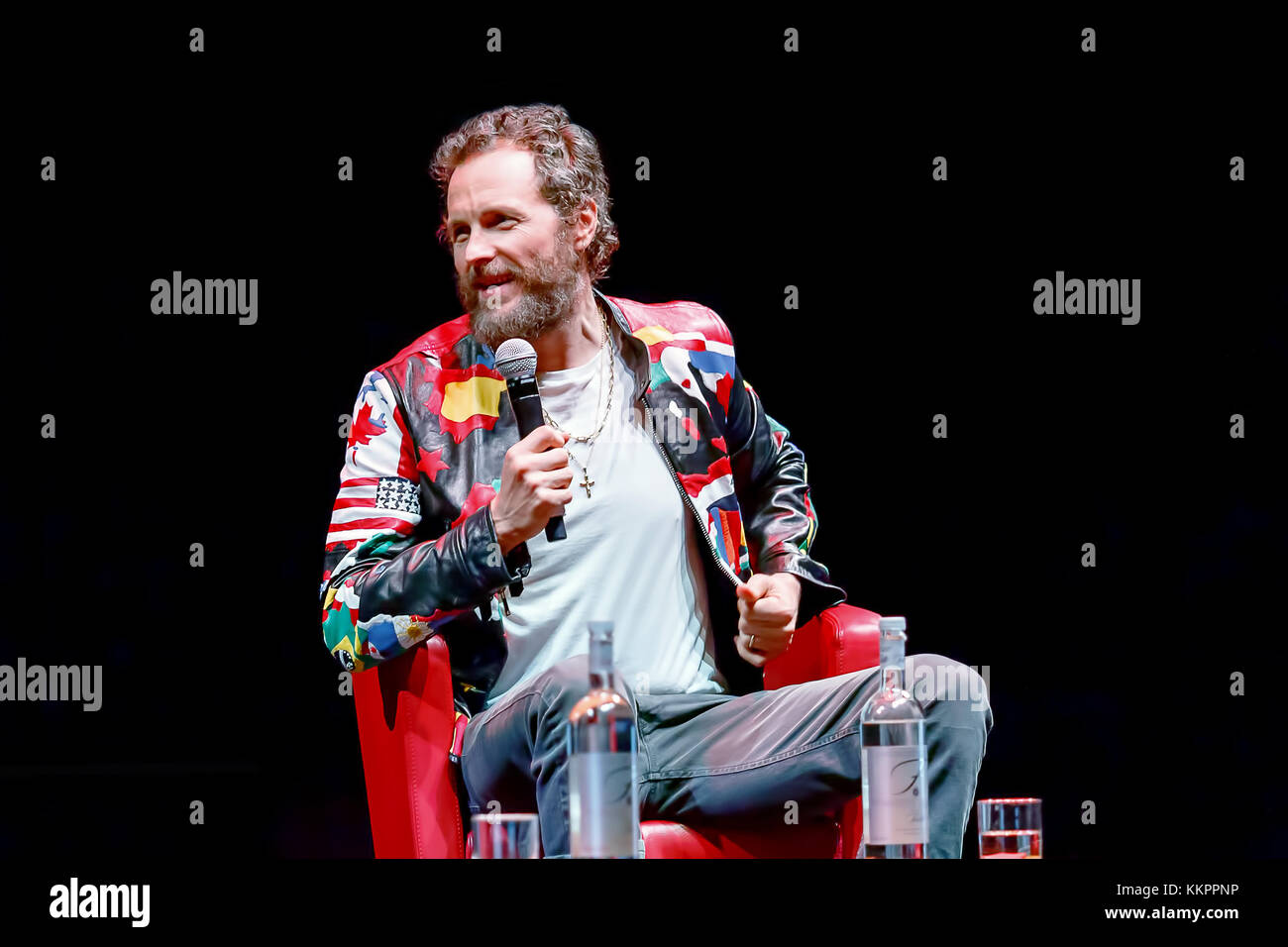 Rome, Italy - October 16, 2016. Italian singer Jovanotti (Lorenzo Cherubini) is interviewed during the meeting with - Stock Image