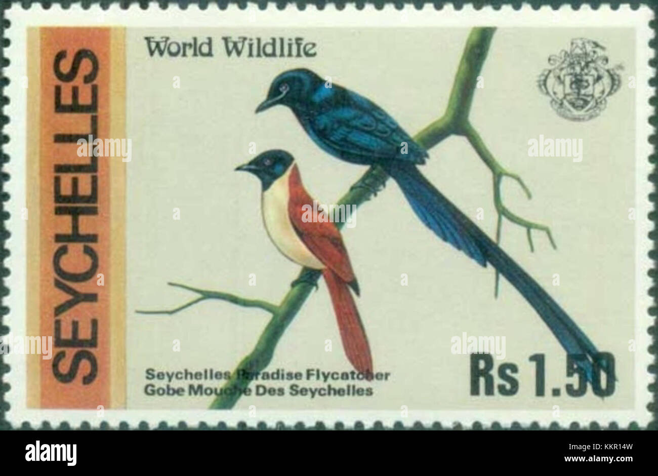 Seychelles paradise flycatcher 1978 stamp Stock Photo