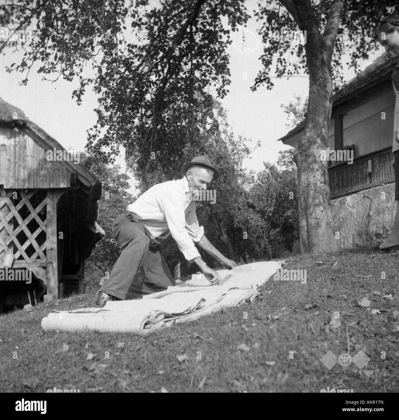 Janez Bartol meri platno, Bistrica 1961 - Stock Image