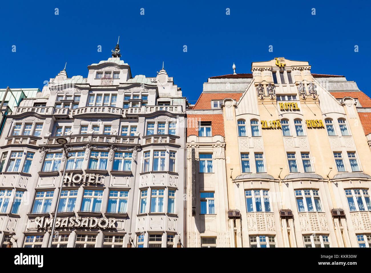 Czechia, Prague, city centre, Prague Neustadt, Wenceslas Square, hotel Ambassador Zlata Husa, five-star hotel, luxury - Stock Image