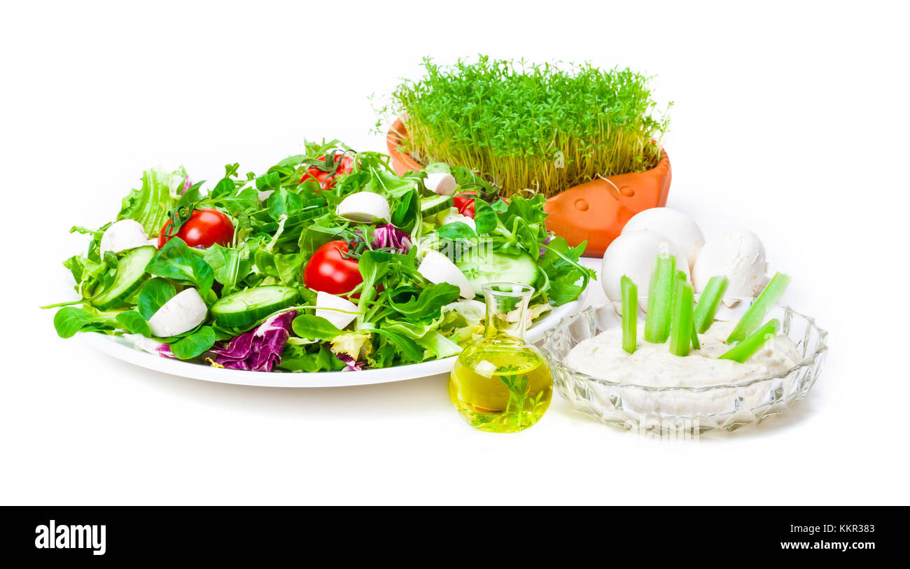Salad with fresh champignons and dip - Stock Image