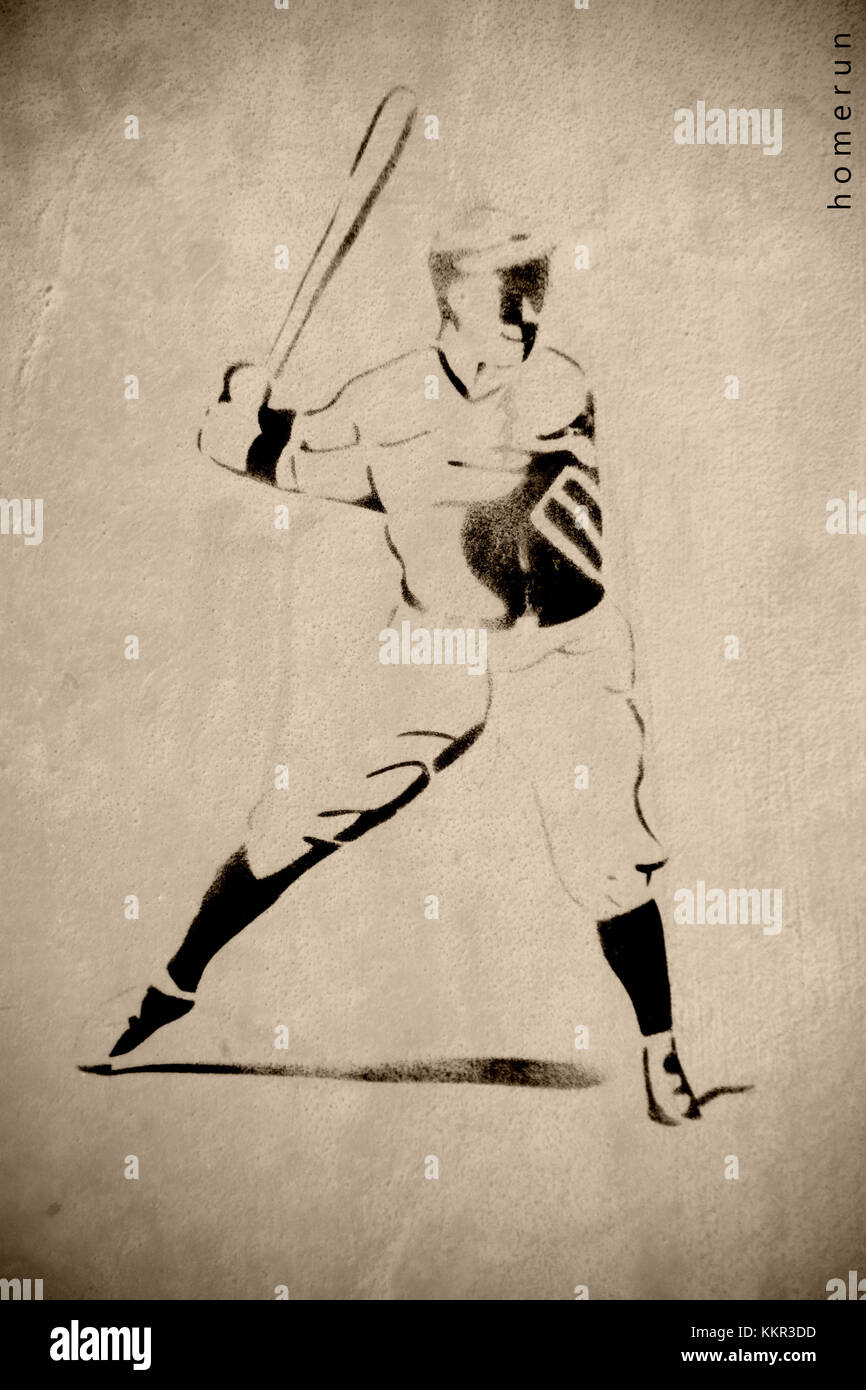 The illustration and the outline of a baseball player hitting the ball. - Stock Image