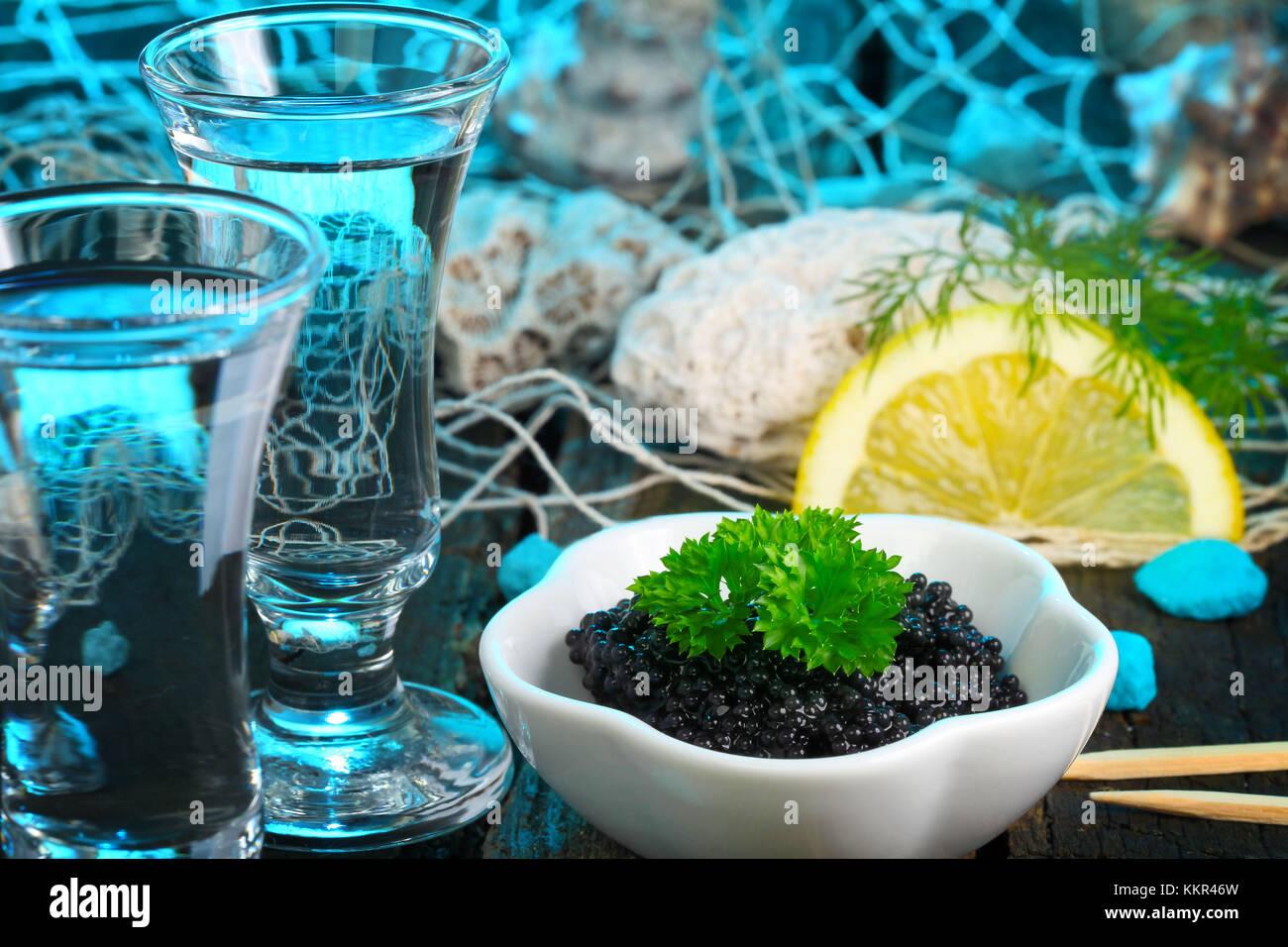 Caviar and vodka - Stock Image