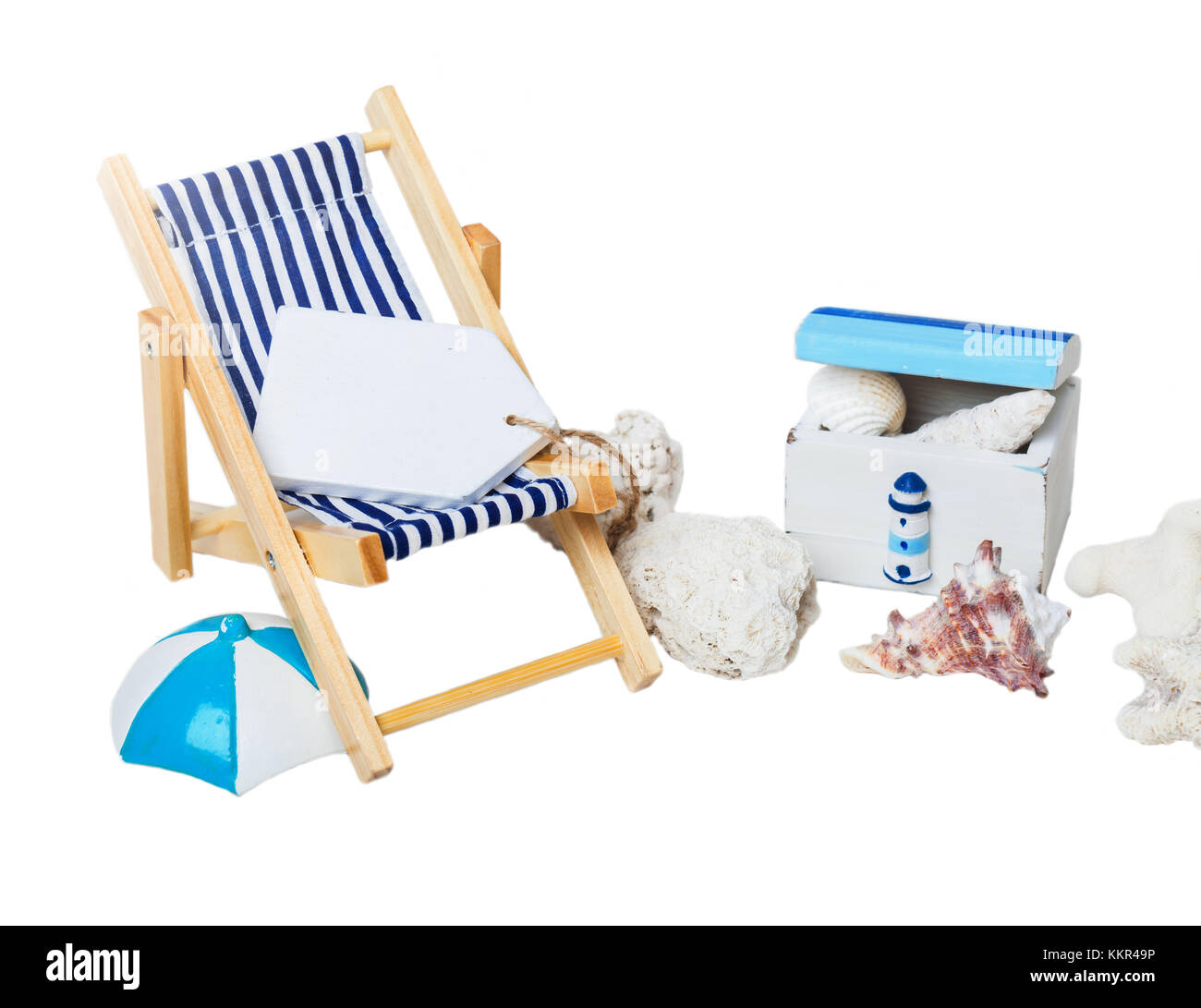 Summer, vacation, beach, deck chair - Stock Image