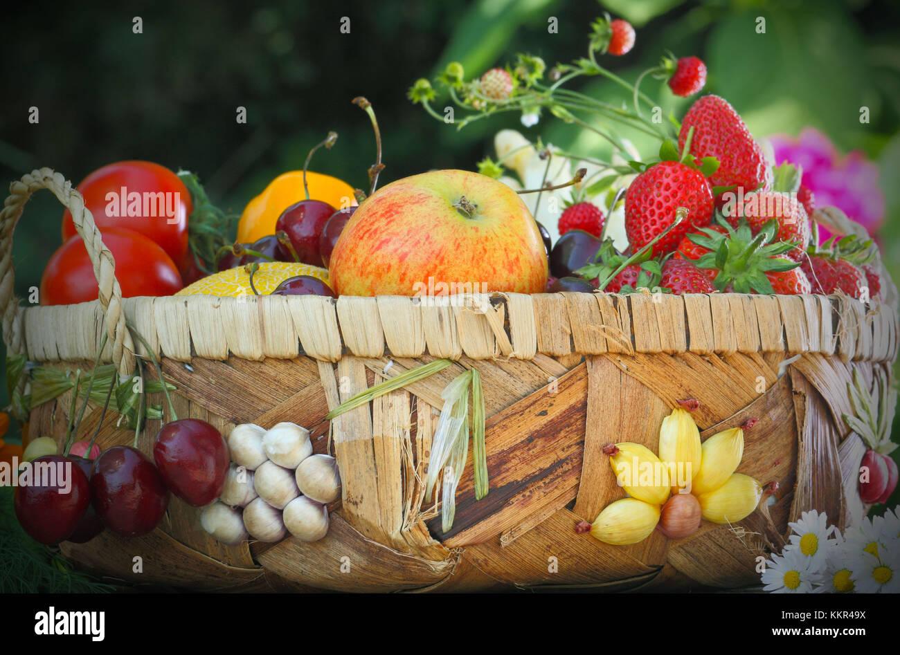 Summery fruit basket - Stock Image