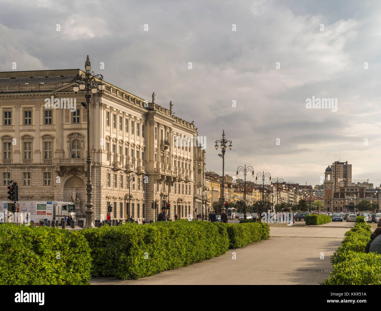 Harbour front of Trieste - Stock Image