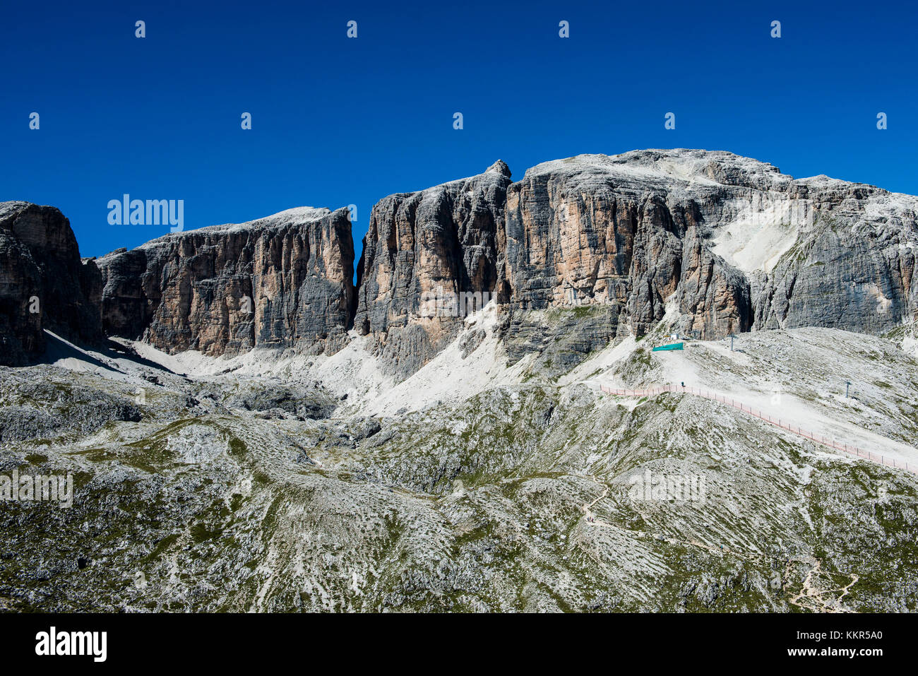 Dolomites with Piz Boe, Sella group, Corvara, aerial picture, South Tirol, Italy Stock Photo