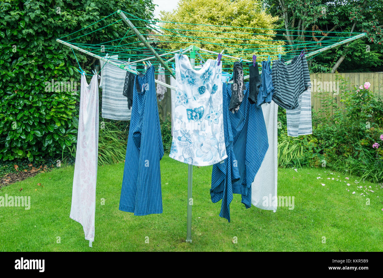 Clothes hanging on the clothes line owned by photographer - Stock Image