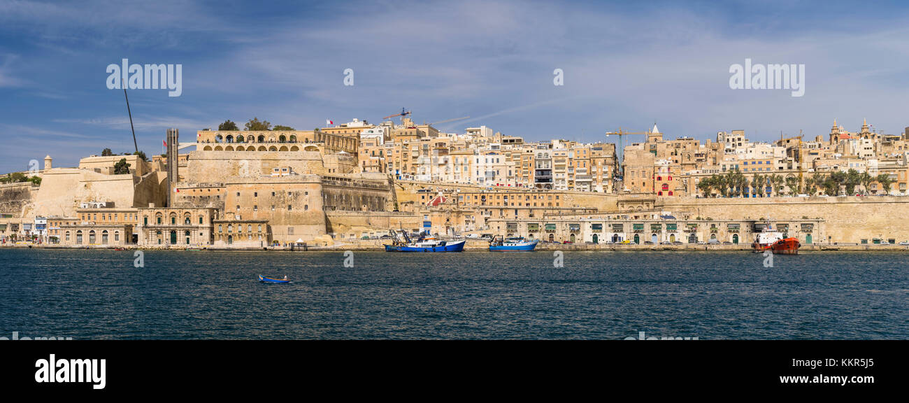 Panorama of the harbour front of Valletta on Malta - Stock Image