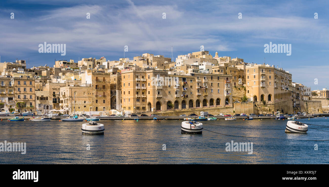 Panorama of the harbour front of Senglea on Malta - Stock Image