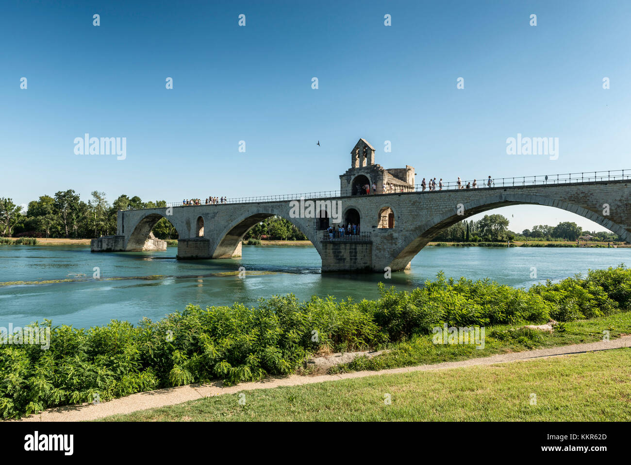 Avignon, Provence, Provence-Alpes-Côte d'Azur, Vaucluse, Southern France, France, Bridge of St Benezet - Stock Image