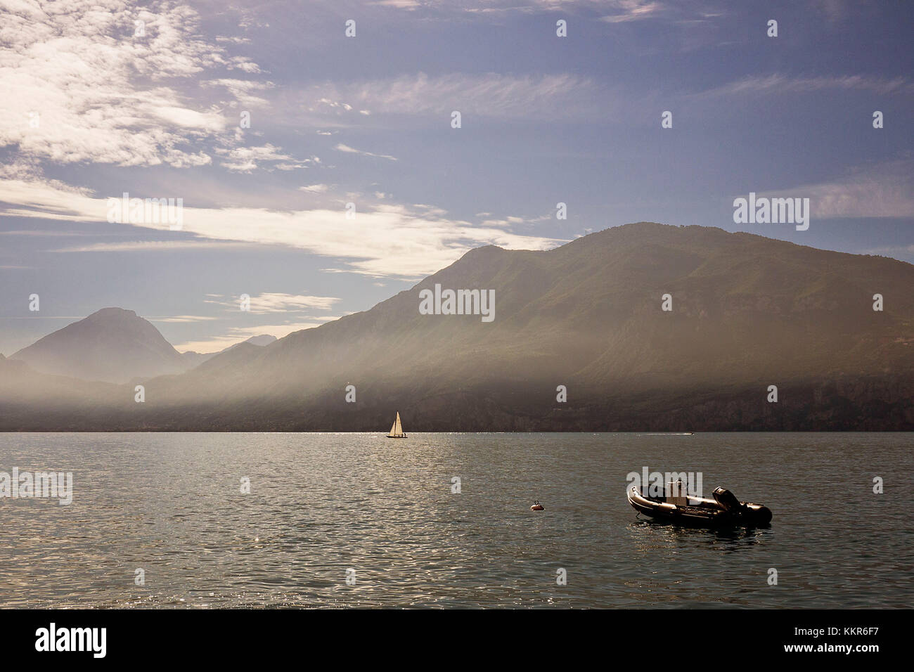 Hot summer day on Lake Garda - Stock Image