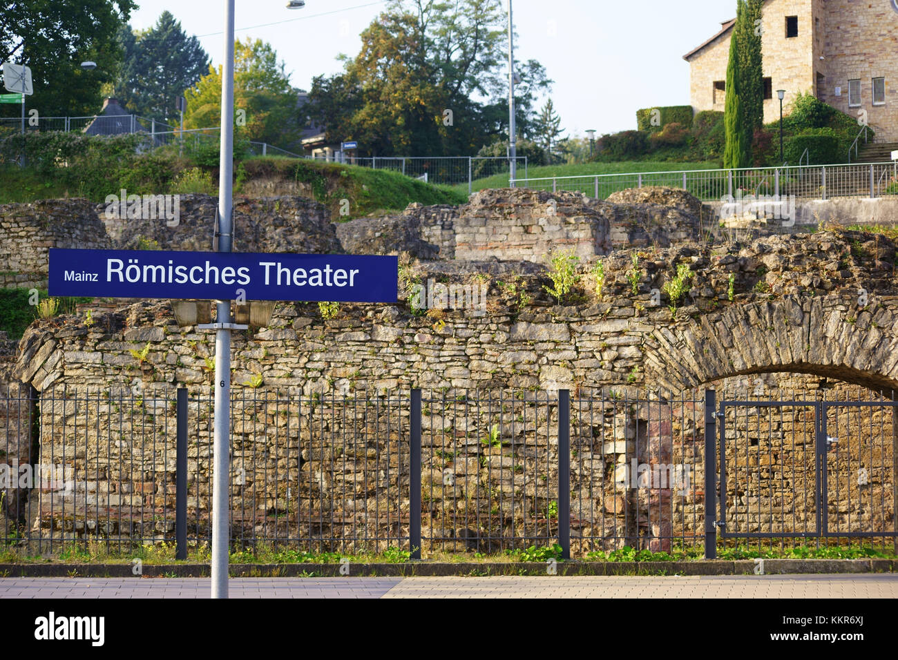 old excavated Roman buildings and complexes in the railway station 'Römisches Theater Mainz', - Stock Image