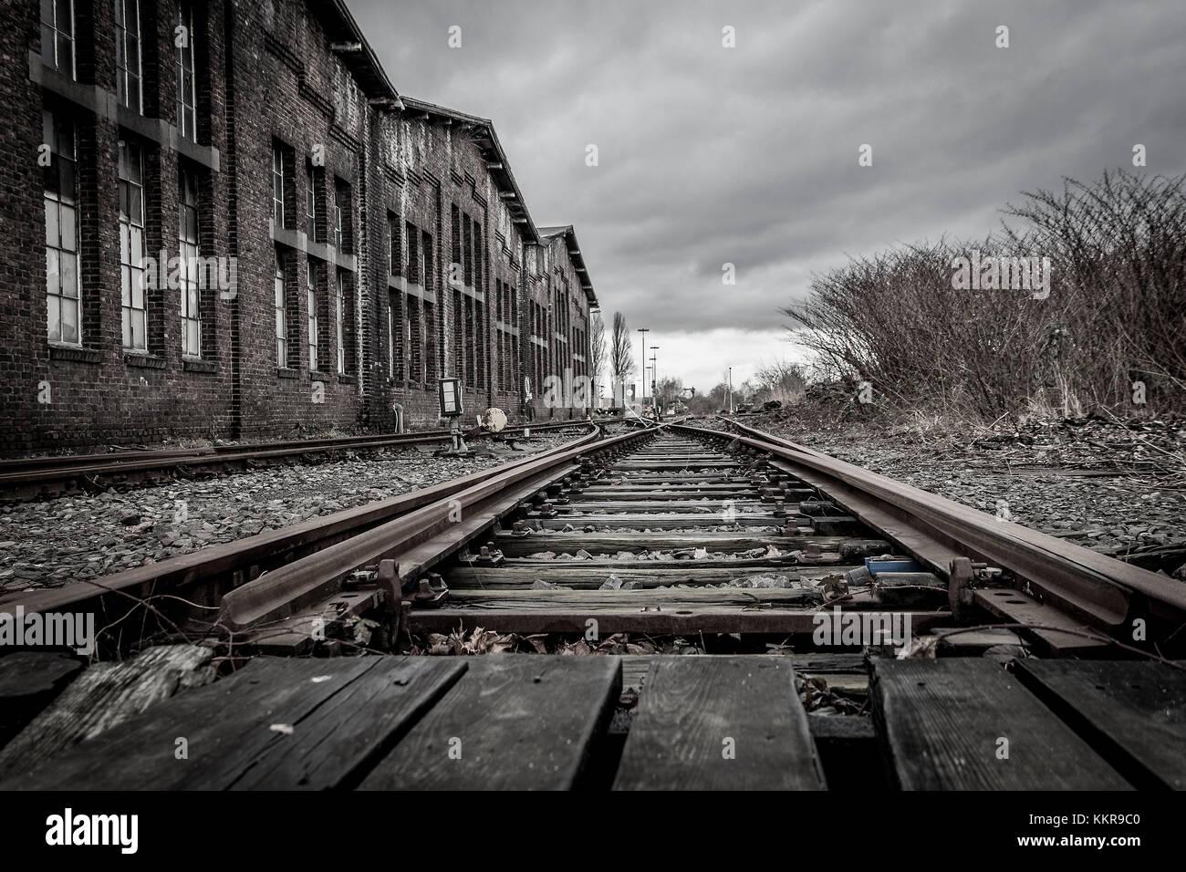 Abandoned railway station near Duisburg - Stock Image