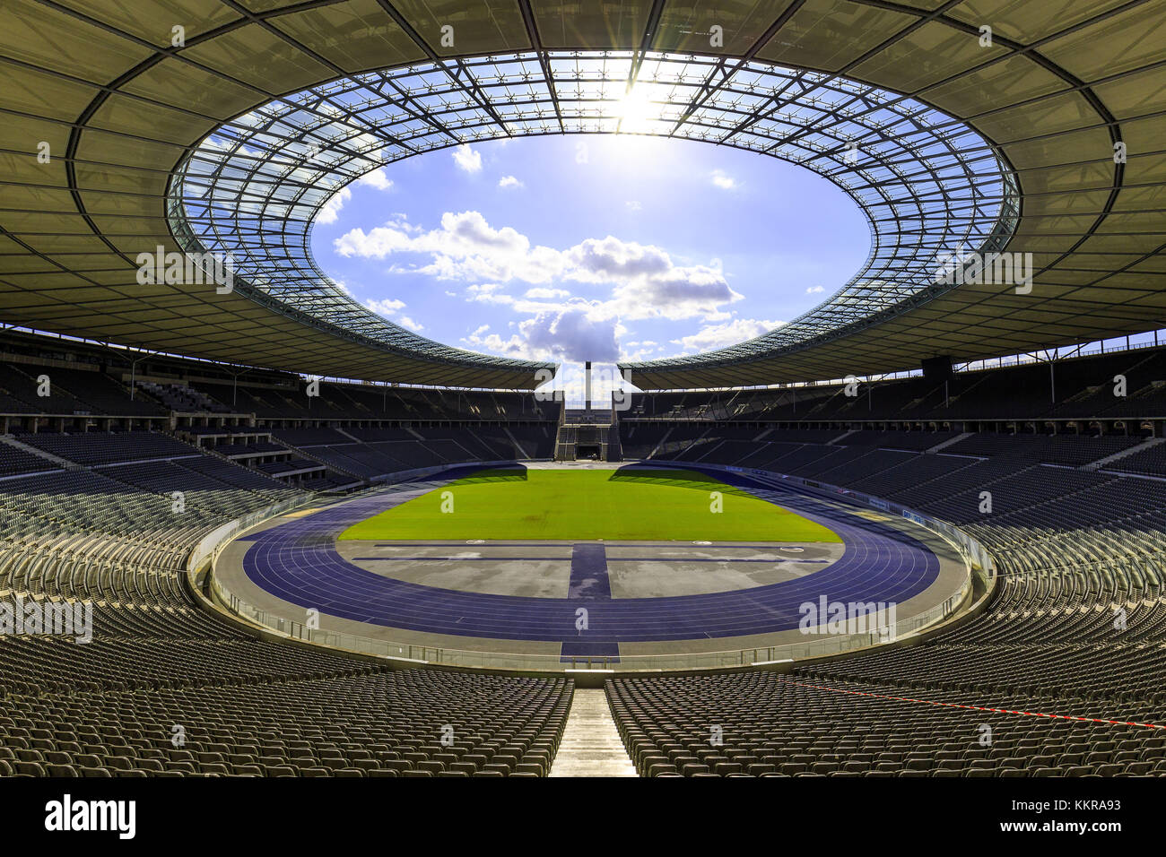 The Olympiastadion Berlin is a sports stadium in Berlin, Germany. It was originally built for the 1936 Summer Olympics - Stock Image