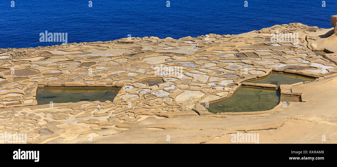 The saltpans are still in use Stock Photo