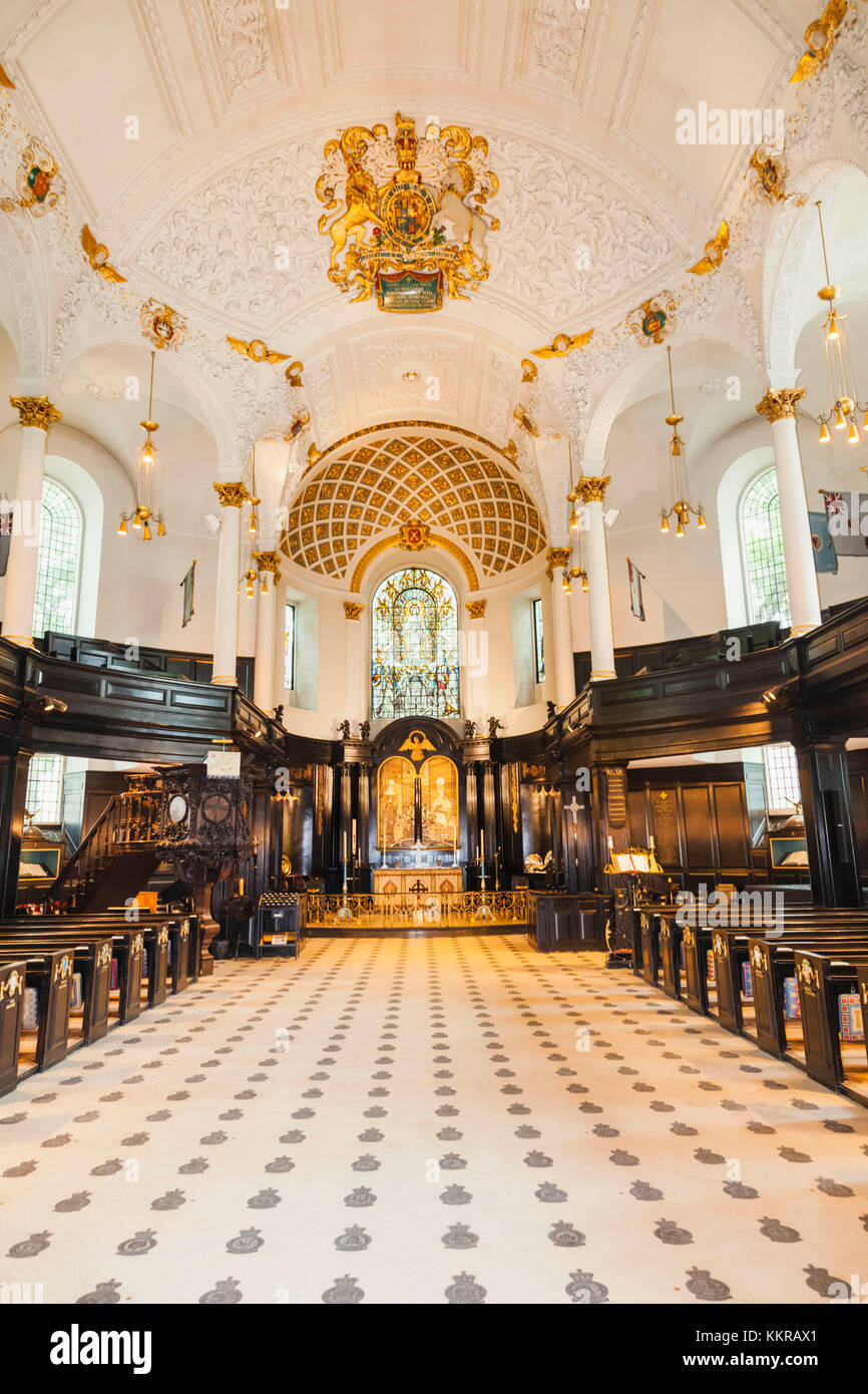 England, London, The Strand, St Clement Danes Church, Interior View - Stock Image
