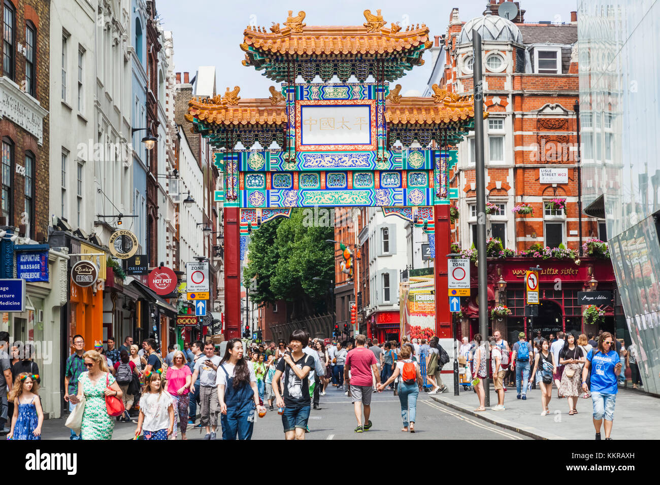England, London, Leicester Square, Chinatown, Chinese Gate - Stock Image