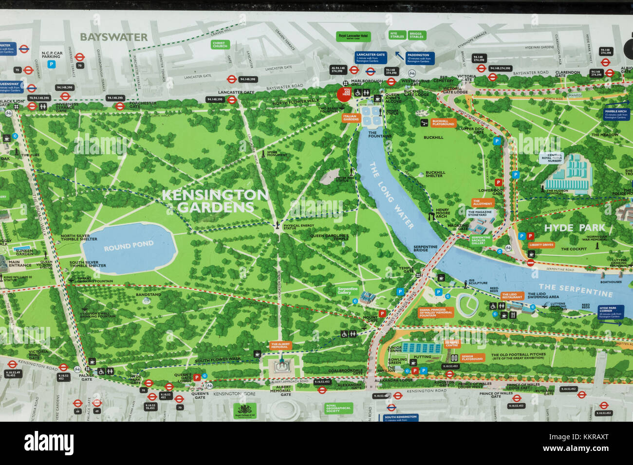 Kensington Gardens Map England, London, Kensington, Kensington Gardens, Map Stock Photo
