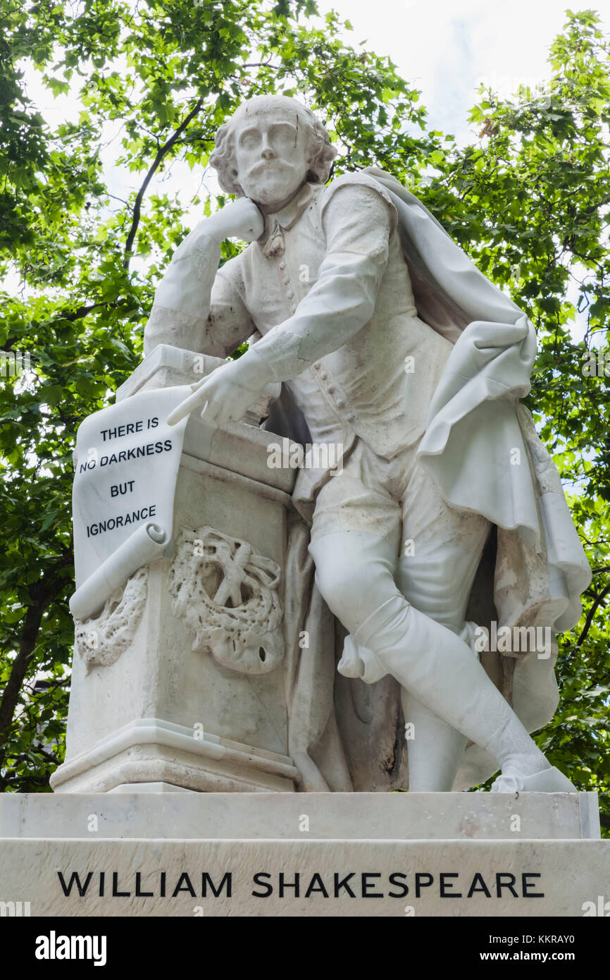 England, London, Leicester Square, Shakespeare Statue - Stock Image